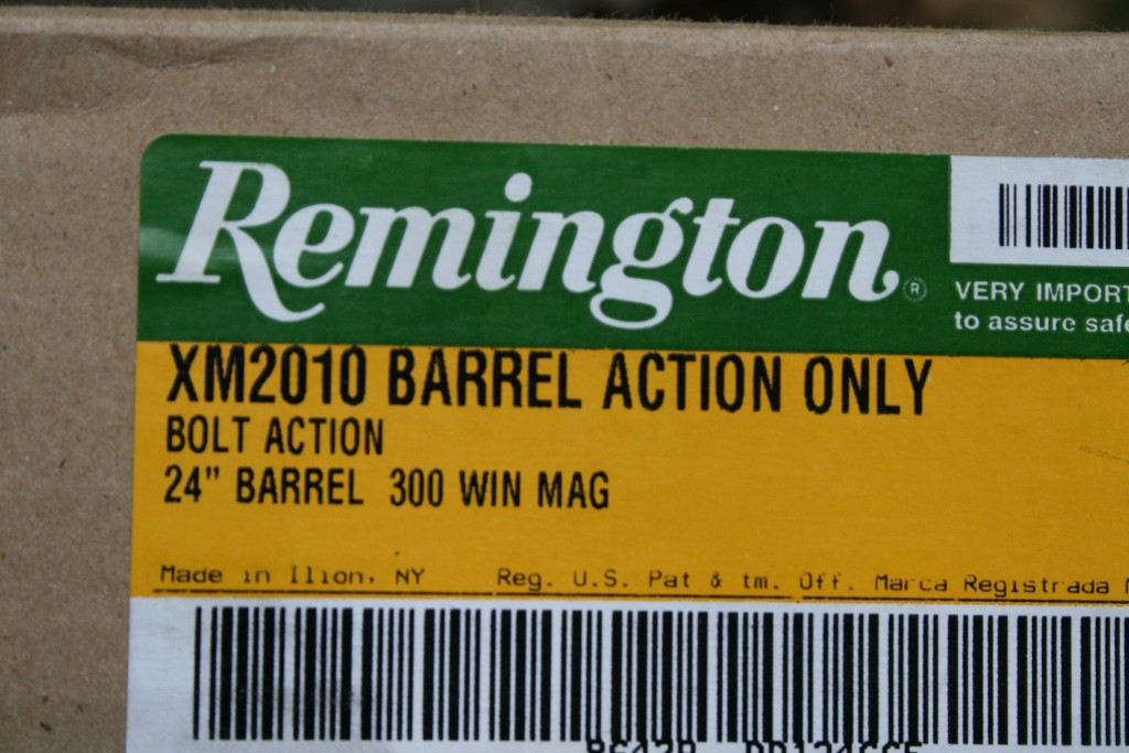 XM2010 Barrel Action Only Box label
